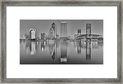 Jacksonville Florida Black And White Panoramic View Framed Print by Frozen in Time Fine Art Photography