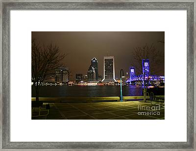 Jacksonville Riverwalk Night Framed Print