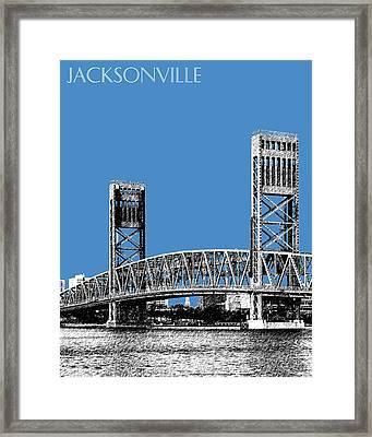 Jacksonville Skyline 2  Main Street Bridge - Slate Blue Framed Print by DB Artist