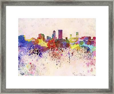 Jacksonville Skyline In Watercolor Background Framed Print by Pablo Romero