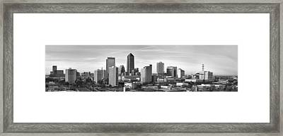 Framed Print featuring the photograph Jacksonville Skyline Morning Day Black And White Bw Panorama Florida by Jon Holiday