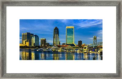 Jacksonville Skyline Sunset Framed Print by Paula Porterfield-Izzo