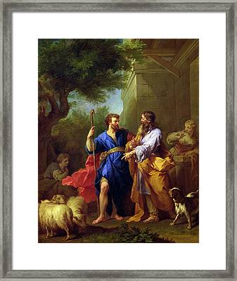 Jacob And Laban, Before 1737 Oil On Canvas Framed Print by Jean II Restout