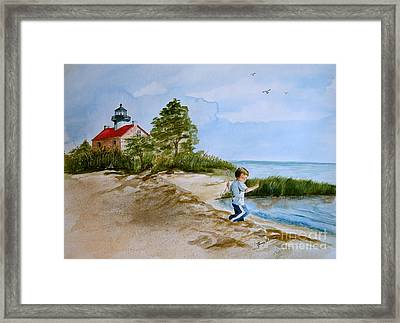 Jacob At East Point  Framed Print by Nancy Patterson