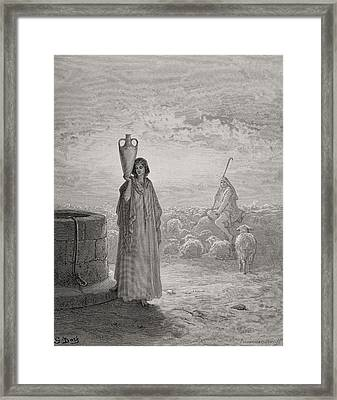 Jacob Keeping Laban's Flock Framed Print by Gustave Dore
