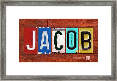 Jacob License Plate Name Sign Fun Kid Room Decor. Framed Print by Design Turnpike