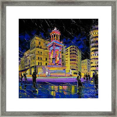 Jacobins Fountain During The Festival Of Lights In Lyon France  Framed Print by Mona Edulesco