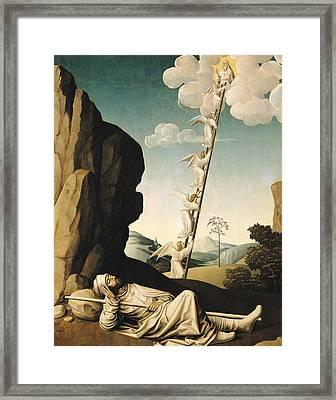 Jacobs Ladder, C.1490 Oil On Panel Framed Print