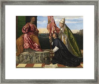 Jacopo Pesaro Being Presented To Saint Peter Framed Print by Titian