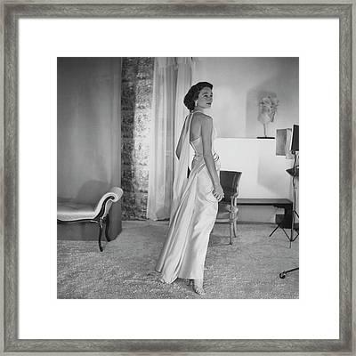Jacqueline De Ribes Wearing A Desses Dress Framed Print