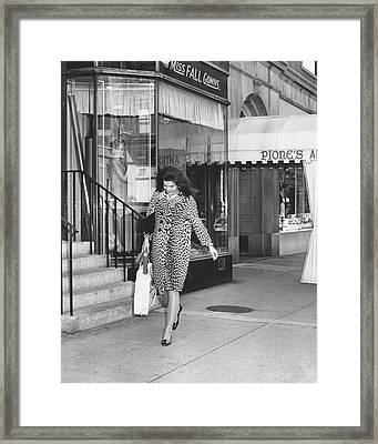 Jacqueline Kennedy In Leopard Print Framed Print