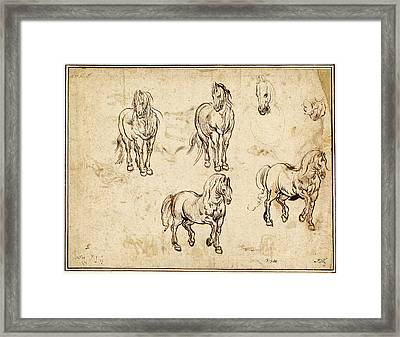Jacques Callot After Antonio Tempesta, Studies Of Horses Framed Print by Quint Lox