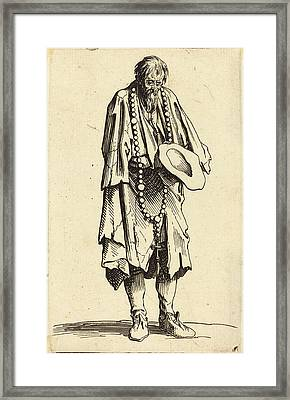 Jacques Callot French, 1592 - 1635, Beggar With Rosary Framed Print by Quint Lox