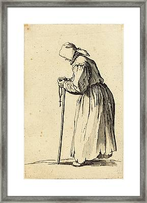 Jacques Callot French, 1592 - 1635, Beggar Woman With Rosary Framed Print by Quint Lox