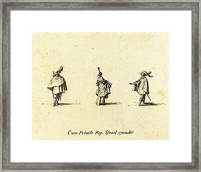 Jacques Callot, French 1592-1635, Lady With Dress Gathered Framed Print by Litz Collection