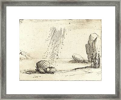 Jacques Callot, French 1592-1635, Oyster With Pearl Framed Print by Litz Collection
