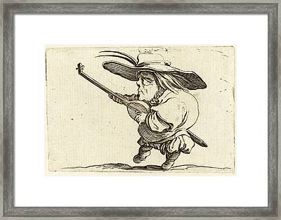 Jacques Callot, French 1592-1635, The Lute Player Framed Print by Litz Collection