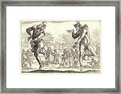 Jacques Callot French, 1592 - 1635. The Two Pantaloons Les Framed Print by Litz Collection