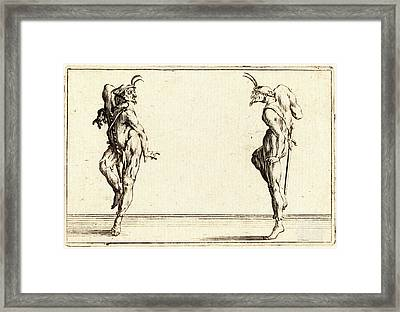 Jacques Callot, French 1592-1635, Two Pantaloons Dancing Framed Print by Litz Collection