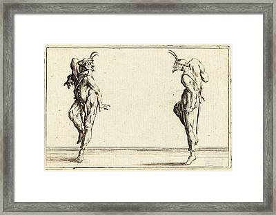 Jacques Callot French, 1592 - 1635, Two Pantaloons Dancing Framed Print by Quint Lox