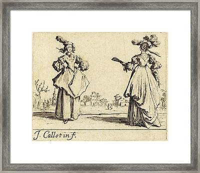 Jacques Callot French, 1592 - 1635, Two Society Women Framed Print by Quint Lox