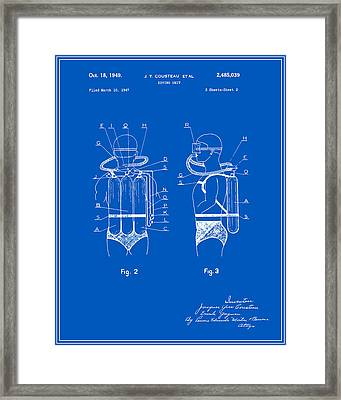 Jacques Cousteau Diving Gear Patent - Blueprint Framed Print by Finlay McNevin