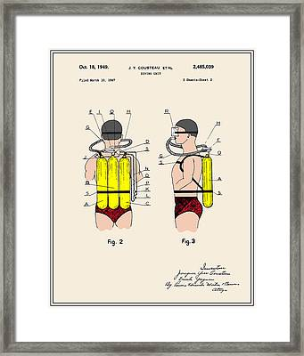 Jacques Cousteau Diving Gear Patent - Colour Framed Print by Finlay McNevin