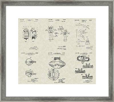 Jacques Cousteau Patent Collection Framed Print