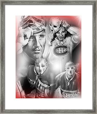 Jacques Plante Framed Print by Mike Oulton