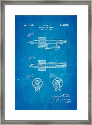 Jaffe Hood Ornament Patent Art 1951 Blueprint Framed Print by Ian Monk