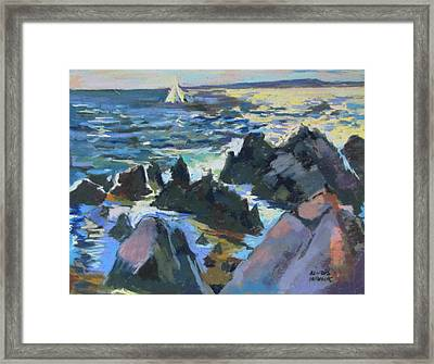 Framed Print featuring the painting Jagged Rocks by Linda Novick