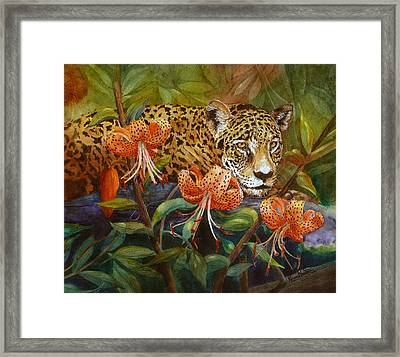 Jaguar And Tigers Framed Print by Karen Mattson