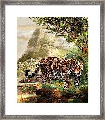 Jaguar In The Shadow Of  Machu Picchu Peru Framed Print