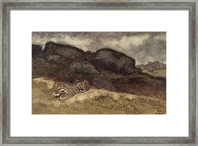 Jaguar Devouring Its Prey Framed Print by Antoine Louis Barye