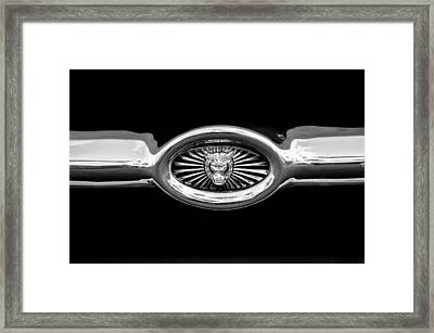 Jaguar E-type Grille Emblem -0562bw Framed Print by Jill Reger