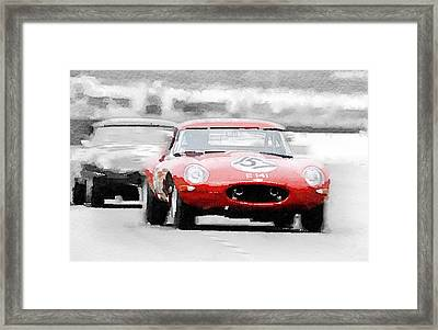 Jaguar E-type Racing Watercolor Framed Print by Naxart Studio