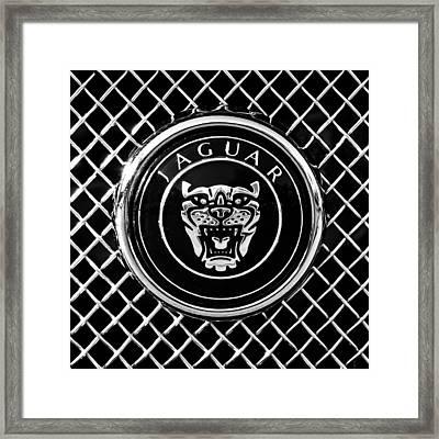 Jaguar Grille Emblem -0317bw Framed Print by Jill Reger
