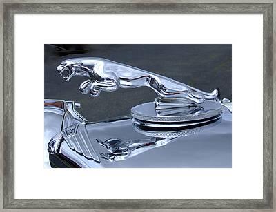 Jaguar Hood Ornament Framed Print by Ron Roberts