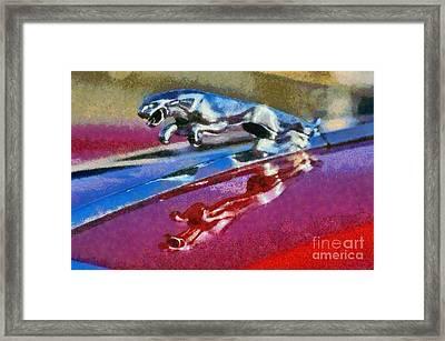Jaguar V12 Badge Framed Print by George Atsametakis