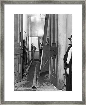 Jail After Lynch Mob Breaks In Framed Print by Underwood Archives