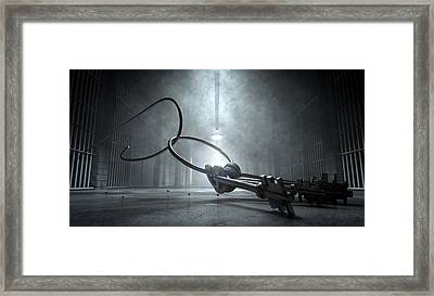 Jail Break Keys And Prison Cell Framed Print by Allan Swart