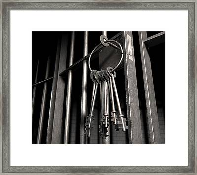 Jail Cell With Open Door And Bunch Of Keys Framed Print