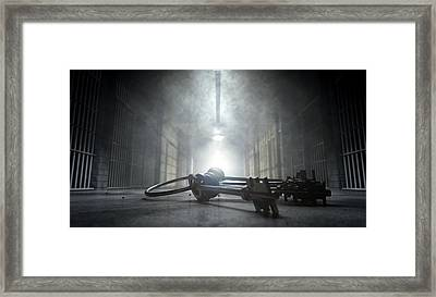 Jail Corridor And Keys Framed Print by Allan Swart