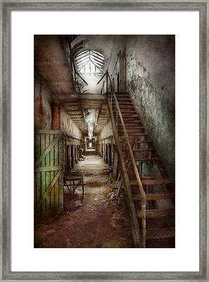 Jail - Eastern State Penitentiary - Down A Lonely Corridor Framed Print by Mike Savad