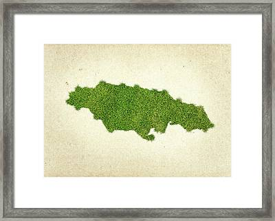Jamaica Grass Map Framed Print by Aged Pixel