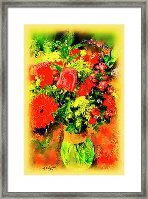 Framed Print featuring the painting J'aime Le Bouquet by Ted Azriel