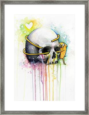 Jake The Dog Hugging Skull Adventure Time Art Framed Print by Olga Shvartsur