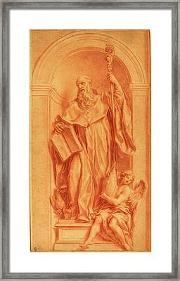 Jakob Frey, Swiss 1681-1752, A Sculpture Of Saint Benedict Framed Print by Litz Collection