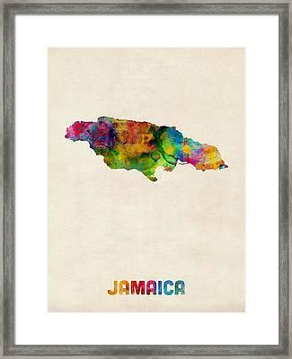Jamaica Watercolor Map Framed Print
