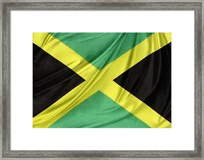 Jamaican Flag Framed Print by Les Cunliffe